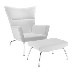 Modway - Class Leather Lounge Chair in White - Gather strength between two joined wingtips with the captivating First Class Chair. Perched on two back and fore chrome legs, the piece perfectly illustrates the correspondence of elements in motion. Complete with a capacious ottoman, experience incredible style without sacrificing on comfort.