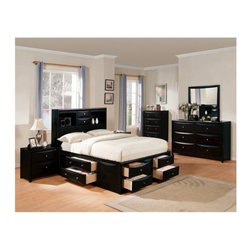 """Acme - 5 PC Manhattan Collection Black Finish Wood Queen Captains Bookcase Headboard - 5-Piece Manhattan collection black finish wood queen captains bookcase headboard bedroom set with storage drawers underneath. This set includes the queen bed set, one nightstand, dresser, mirror and chest. Queen captains bed features a bookcase headboard with storage drawers underneath. Nightstand measures 20"""" x 17"""" x 26"""" H. Dresser measures 53"""" x 17"""" x 34"""" H. Mirror measures 31"""" x 38"""" H. Chest measures 36"""" x 17"""" x 48"""" H. Some assembly may be required. Cal king and Eastern king available at additional cost."""