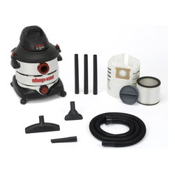 "Shop Vac - Vacs - 5986100 8G Stainless Vacuum - 8 GALLON STAINLESS STEEL SHOP VACUUM  Powerful 5.5 peak HP wet/dry shop vacuum  8 gallon stainless steel tank  345 air watts rating  Includes following accessories: 7' x 1-1/4' -  hose, (3) 1-1/4"" extension wands, 1 each 10"" -  wet/dry nozzle, 1-1/4"" crevice tool and a -  1-1/4"" gulper nozzle along with cartridge -  filter, disposable filter bag and 12 ft. cord    5986100 8G STAINLESS VACUUM    COLOR:Stainless Steel"
