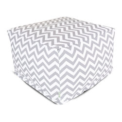 Majestic Home - Outdoor Gray Chevron Large Ottoman - Add a little character to your living room or patio with the Majestic Home Goods Large Ottoman. This Ottoman is the perfect accessory to add comfort and style to any room while functioning as a decorative foot stool, pouf, or coffee table. Woven from outdoor treated polyester, these ottomans have up to 1000 hours of U.V. protection and are able to withstand all of natures elements. The beanbag inserts are eco-friendly by using up to 50% recycled polystyrene beads, and the removable zippered slipcovers are conveniently machine-washable.
