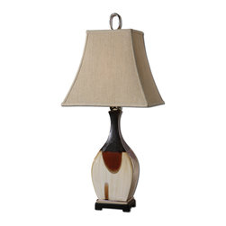 Modern Black Red Ivory Table Lamp - *Multi color ceramic in metallic black, rusty red and antiqued ivory with polished nickel accents and a black foot.