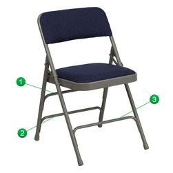Flash Furniture - Flash Furniture Hercules Series Navy Fabric Upholstered Metal Folding Chair - The Triple Braced Hercules Series Folding chairs are our best folding chairs ever. When in need of temporary seating this heavy duty gray metal frame chair with navy fabric padded seat and back is perfect. This portable folding chair can be used for Parties, Graduations, Sporting Events, School Functions and in the Classroom. This chair will be the perfect addition in the home when in need of extra seating to accommodate guests. The chair will not take up anywhere near as much space as chairs that cannot fold when it comes time to clean up. This economically priced chair will endure some heavy usage with an 18-gauge steel frame, triple braced and leg strengthening support bars. [HA-MC309AF-NVY-GG]