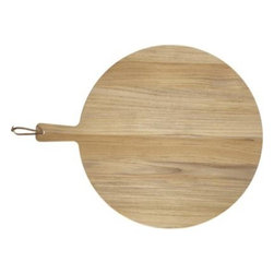 FSC Teak Round Cutting Board - Stylish round cutting board with convenient handle and leather hanging loop goes from kitchen prep to table presentation. Each board is crafted of unfinished teak certified by the Forest Stewardship Council (FSC), a nonprofit organization that encourages responsible management of the world's forests. Beautiful blonde wood will develop a warm patina with regular use. Some of the wood is repurposed from the production of Crate and Barrel furniture.