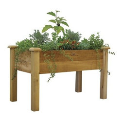Gronomics Rustic Elevated Garden Bed - This garden planter is raised, so it's easy on the back. I really like its look and that it would add lots of greenery to a space.