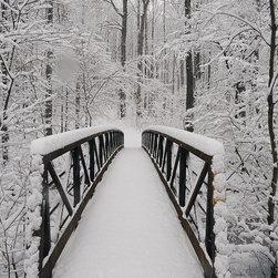 Magic Murals - Snow-Covered Bridge Wallpaper Wall Mural - Self-Adhesive - Multiple Sizes - Magi - Snow-Covered Bridge Wall Mural
