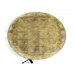 "Concepts Life - Concepts Life Decorative Plate  Luminous Lace Collection  Gold Tray, Large - An outfit is never complete without the right accessory, and your table won't be complete without our Luminous Lace collection. Serve your appetizers, cupcakes, and savory bites on our ornate gold trays, which are designed with intricate floral detailing and delicate perforated patterns. It really is like dressing your table in gold and lace. These trays are beautiful enough to have as an accent piece on your wall, or a permanent ornament on your table. The large diameter and slight curvature elevate the presentation of this ornate and exotic piece.  Modern home accent Serving tray Crafted from 100% iron with gold finish Stylish blend of modern and romantic Beautifully hand-crafted; will have unique bends and asymmetries Dimensions: 17"" diameter Weight: 1 lbs"