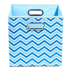 Modern Littles - Sky Zig Zag Folding Storage Bin - Organize in style with this colorful storage bin. With its bold hue and easy-to-use design, it'll give any room a fun pop -- and hold all of baby's toys, blankets, and more. Perfect for kids' rooms, playrooms, or closets, it folds flat when not in use for easy storage, and the lightweight design features handles for effortless carrying.