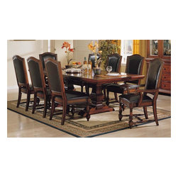 Winners Only - 9 Pc Ashford Extension Dining Set w Padded Le - Includes table, two arm chairs and six side chairs. Traditional style. Upholstered bi-cast leather chairs. 24 in. table leaf extension. Made from Asian hardwoods and cherry veneers. Table: 76 in. L x 44 in. W x 30 in. H (192 lbs.). Arm Chair: 28 in. L x 26 in. W x 44 in. H (28 lbs.). Side Chair: 22 in. L x 26 in. W x 44 in. H (26 lbs.)