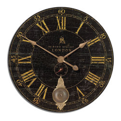 Uttermost - Bond Street 30 in.  Black Wall Clock - Laminated Clock Face With A Weathered Crackled Look, Cast Brass Details And Internal Pendulum. Requires 1-C Battery And 1-AA Battery.