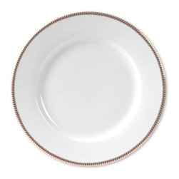 """PIP Home - Set of 6 White 10"""" Plates by PIP Home - Crisp white dinner plates subtly bordered with a small red and white check pattern. A dainty gold scalloped design lines the inner border. Use this beneath any of our coordinating dishes from PIP Home or your own existing plates. A classic staple that allows you to change your seasonal tables cape with decorative accessory dishes. High grade porcelain is not dishwasher or microwave safe. Set of 6. (PH)"""