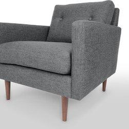 Bryght - Noah Gravel Gray Armchair - A fresh take on style with comfort. Give your home a trendy update with the mid century modern inspired Noah armchair