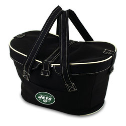 Picnic Time - New York Jets Mercado Picnic Basket in Black - This Mercado Basket combines the fun and romance of a basket with the practicality of a lightweight canvas tote. It's made of polyester with water-resistant PEVA liner and has a fully removable lid for more versatility. Take it to the farmers market, the beach, or use it in the car for long trips. Carry food or sundries to and from home, or pack a lunch for you and your friends or family to share when you reach your destination. The Mercado is the perfect all-around soft-sided, insulated basket cooler to use when you want to transport a lunch or food items and look fashionable doing it.; Decoration: Digital Print; Includes: 1 removable canvas lid