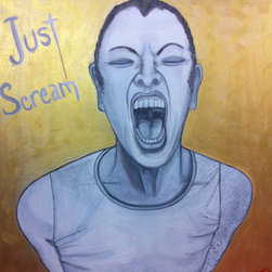 "Unconscious On Canvas - ""Just Scream"" Artwork - Release your inhibitions. Release your frustration. Release your emotions. This original artwork is painted by artist Darlene Graeser in shades of blue, purple and ocher with the instructions to ""Just Scream."""