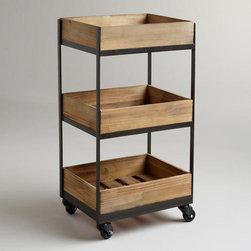 3-Shelf Wooden Gavin Rolling Cart -