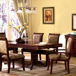 "7 PC Antique Cherry Wood Dining Set Double Pedestals 18"" Leaf Chairs - Your family will enjoy dining on this transitional set, which features a double pedestal table fits up to size. Chairs are comfortable with upholstered seats and backs and simple elegant lines. A matching buffet provides generous storage. Round table is also available."