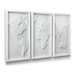 Umbra - Umbra Mapster Wall Decor, Set of 3 - Mapster wall decor set by Umbra features three deep frames each containing a different section of the globe in three-dimensional relief. Constructed of lightweight molded material in a modern white-on-white color scheme,and mounted, form a composition approximately 38 inches long.