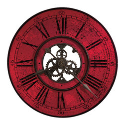 "Howard Miller - Howard Miller Brassworks II Contemporary 32"" Oversized Wall Clock in Red - 625569 Brassworks II"