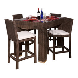 International Home Miami - Monza 5-pc Bar Set Rectangular - Great quality, stylish design patio sets, made of aluminum and synthetic wicker. Polyester cushion with water repellant treatment. Enjoy your patio with elegance all year round with the wonderful Atlantic outdoor collection