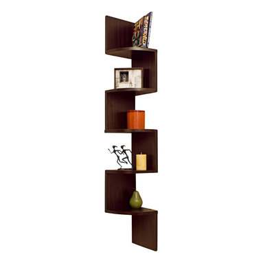 Danya B. - Laminated Veneer Corner Wall-Mount Shelf, Walnut - Decorative corner wall shelves makes space utilization possible from any corner. Creative design and space saving solution for small areas. Display collectibles, photos, toys, awards, CD's, videos, decorative items and more. Attaches to both sides of the wall with only 2 nails or screws. MDF & laminate. With its contemporary walnut finish, beech or maple grain or classic white, they are the ideal accent for any living space. Minor assembly is required.