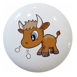 Carolina Hardware and Decor, LLC - Baby Bull Ceramic Cabinet Drawer Knob - 1 1/2 inch white ceramic knob with one inch mounting hardware.  Great as a cabinet, drawer, or furniture knob.  Adds a nice finishing touch to any room!