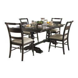 Liberty Furniture Whitney 5 Piece 94x42 Dining Room Set in Black, Dark Wood