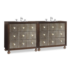 Cole and Co - Celebrity Double Sink Chest - The Celebrity Double Sink Chest will reflect your sense of style in more ways than one with its antiqued mirrored drawer fronts wrapped in ribbon stripe and quartered mahogany wood in a dark Kona finish.  Storage is featured in four of the six drawers, which are accented with black-tipped abalone shell pulls.  Two units are combined to form the double and are shipped separately. They can be. Dimensions: 75 in. x 18 in.