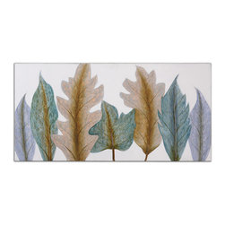 Uttermost - Aqua Leaves Canvas Art - Turn over a new leaf and add this hand-painted canvas to your art collection. Each is one of a kind, so slight variations in tone and texture are to be expected and celebrated.