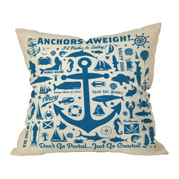 DENY Designs - Anderson Design Group Anchors Aweigh Throw Pillow, 18x18x5 - Ahoy, mateys! Set sail with this nutty, nautical throw pillow. Each side is adorned with maritime symbols and slogans — both traditional and tongue in cheek. Perfect for the beach, the bedroom, the den or wherever the sea calls you.