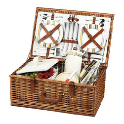 Picnic At Ascot - Dorset Picnic Basket for Four, Wicker W/Santa Cruz - The Dorset English style picnic basket for four is made to last with quality construction and stylish details. Beautifully hand crafted using full reed willow, each basket includes ceramic plates, glass wine glasses, and the highest quality accessories.  Includes: (4) ceramic plates, glass wine glasses, stainless flatware, cotton napkins, (1) food cooler, insulated wine pouch, hardwood cutting board, spill proof salt & pepper shakers, wood handle cheese knife, and stainless waiters corkscrew. Natural Willow with leather handle, closures, hinge covers. Lifetime Warranty.