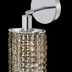 Elegant Lighting - Mini Ellipse Chrome One-Light Bath Fixture with Royal Cut Golden Teak Smoky Crys - Royal Cut crystal is a combination of high quality lead free machine cut and machine polished crystals and full-lead machined-cut crystals to meet a desirable showmanship of an authentic crystal light fixture.  -Recommended to be professionally hung and supported independently of the outlet box. Consult an electrician for guidance to determine the correct hanging procedure.  -Crystals may ship separately and some assembly is required.  -Depending on the size & design the assembly can be time consuming, but is well worth the effort. Elegant Lighting - 1281W-R-E-GT/RC