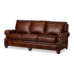 Randall Allan - Ashland Sofa - Picture yourself lounging on this luxurious couch. In mahogany leather, it features stitched frames on the cushions, rolled arms with nailhead trim and sweet bun feet. It's so handsome, you'll want to hang it on the wall.