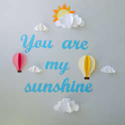You are My Sunshine With Clouds and Hot Air Balloons by Gosh & Golly - This wall art stands out — literally — with its 3-D clouds and hot air balloons. It's made to order, so the colors will fit any scheme.