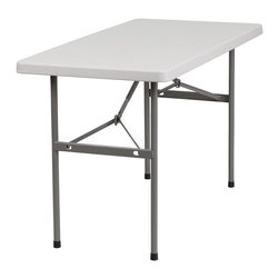 Flash Furniture - Flash Furniture Granite Plastic Folding Table in White - Flash Furniture - Folding Tables - RB2448GG - Flash Furniture's 24''W x 48''L Commercial Grade Folding Table features a durable stain resistant blow molded top and sturdy frame. The low maintenance blow molded top cleans easily.