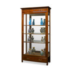 China Furniture and Arts - Rosewood Grand Curio Cabinet - With built-in halogen lights projecting museum quality display lighting, our beautiful curio cabinet is perfect for your treasured collectables. Five adjustable shelves and mirrored back inside. One drawer at the bottom with Chinese longevity emblems are masterfully carved out as drawer-pulls. Made of solid rosewood with traditional joinery technique by artisans in China. Hand applied beautiful natural rosewood finish. Beveled glass door and sides. Display accessories not included.