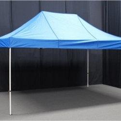 King Canopy 10 x 15 ft. Festival Instant Canopy - The King Canopy 10 x 15 ft. Festival Instant Canopy comes with a convenient roller bag and boasts a quick and convenient pop-up design so that you can set up a shelter anytime, anywhere! This is a great canopy for picnics, tailgating, camping, or a trip to the beach! The Festival Instant Canopy offers no-hassle shade supported by a heavy-duty white center truss powder coated steel frame and its cover is available in your choice of blue or white polyester that's UV treated and 100% water resistant. You and your guests will love the 150 square feet of space provided by this quality canopy!About King CanopyIn 1940, King Canopy started as a small family business in North Carolina. Since then, King Canopy has been providing customers with high quality outdoor covers, including canopies and cabanas, as well as other recreational covers and canopy products. These sturdily constructed products span a variety of uses, including providing shade and shelter for areas such as patios and greenhouses, to events such as parties and flea markets. Moreover, King Canopy's covers aptly protect cars, trucks, recreational vehicles, boats, and jet skis; they may also serve as a free-standing temporary carport, dock house, gazebo, or garage. With a mission to provide high quality, innovative outdoor leisure and sports products that offer tremendous value to our customers, King Canopy remains committed to their values of family and honesty, and producing top-quality products.