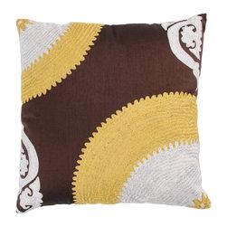 "Brown Yellow Embroidered 18"" x 18"" Pillow  Set of 2 - *18"" x 18"" Pillow with Hidden Zipper"