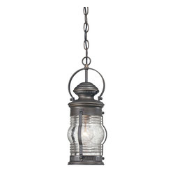 """Minka Lavery - Country - Cottage Lynnfield 16"""" High Oil-Rubbed Bronze Hanging Outdoor Light - Perfect in entryways this hanging outdoor light is a great addition for your house. Finished in an oil-rubbed bronze with gold highlights and ribbed clear seedy glass this design is a versatile choice that matches nearly any home. The open bottom provides plenty of light to your outdoor spaces so you can feel safe and secure at night. From the Minka Lavery Lynnfield collection. Oil-rubbed bronze finish with gold highlights. Aluminum construction. Ribbed clear seeded glass. Open bottom. Maximum 100 watt or equivalent bulb (not included). Includes chain. 16"""" high. 6 1/4"""" wide.  Oil-rubbed bronze finish with gold highlights.  Aluminum construction.  Ribbed clear seeded glass.  Open bottom.  Maximum 100 watt or equivalent bulb (not included).  Includes chain.  Damp location rated only.  16"""" high.  6 1/4"""" wide."""