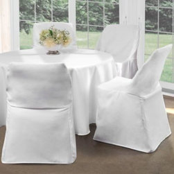 Levinsohn Textile Company, Inc. - Folding Chair Cover - Transform an ordinary folding chair to an extraordinary dining chair with this elegant Folding Chair Cover. The cover fits easily over most armless folding chairs to give a finished refined look, perfect for any indoor or outdoor occasion.