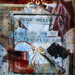 """Your Voice Reminds Me Of My Favorite Song "" (Original) By Liz London - The Title Is Actually The Emphasis Of This Of This Art Piece. The Rest Of The Piece Has Musical Notes And At The Top Left Side Is A Part Of A Vintage Advertisement For The Most Popular Music Player At The Time R.C.A."