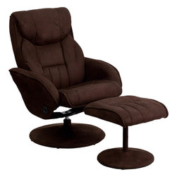 Flash Furniture - Brown Microfiber Recliner and Ottoman with Circular Microfiber Wrapped Base - This overstuffed microfiber recliner will look great in any room in the home or office. This set features plush padding throughout the chair and ottoman to keep you in comfort.