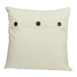 "Xia Home Fashions - 20"" Solid Color Pillow With Buttons, White - Three faux buttons compliment this fashionably understated solid color pillow collection."