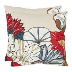 Safavieh - Barb Accent Pillow - White,Brown - Barb Accent Pillow - White,Brown