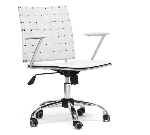 "Baxton Studio - Vittoria White Leather Modern Office Chair - Add stylish,ting to your home office furniture or use our Vittoria Modern Office Chair as the perfect leather office chair for your business. Durable eggshell white bonded leather on the seat is smooth and is accented with matching stitching. Conversely, the leather on the backrest is intricately woven.  Light foam padding adds additional comfort. The dependable steel frame is beautifully finished with high-shine chrome plating and tipped with five black caster wheels.  The Vittoria Office chair swivels 360 degrees and features an adjustable seat height with tilt control.  Additionally, the handsome chair requires assembly and is made in China.  To clean, wipe with a damp cloth.  Also available in black and matching counter height and bar stools in brown or black (each sold separately). product dimension:23.625""Wx19""Dx(32""-36"")H, seat'sion:19.375""Wx17""Dx(16.5""-20"")H with arm height 8.25"" from the seat"
