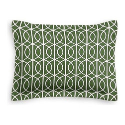 Green Modern Trellis Custom Sham - The Simple Sham may be basic, but it won't be boring!  Layer these luxurious reversible shams in various styles for a bed you'll want to fall right into. We love it in this rounded trellis in emerald green and white on soft lightweight line. Your gateway to a chic modern look.