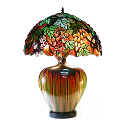 Warehouse of Tiffany - Tiffany Style Grape Lamp With Ceramic Base - Reminiscent of the finest designs attributed to Louis Tiffany almost a century ago, this beautiful stained glass Tiffany style lamp evokes a bygone era but still looks great in modern homes. Fine copper foil and a ceramic base complete this luxury lamp.