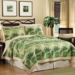 """Palm Dream Quilt Set - """"Palm tree deluxe"""" is what I like to call this bed set. To avoid looking tacky, stay away from the usual dark woods normally used with this style. Stick to white furniture and colors like gold and light pink."""