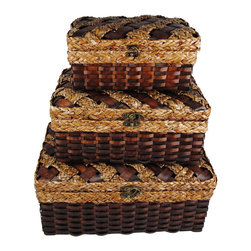 None - Woven Wood Strip Storage Trunks (Set of 3) - Bring the power of wow into your home with these gorgeous old world style storage trunks. Exquisite detail of rich natural color,pewter finish clasp,multi texture weaves will delight your senses.