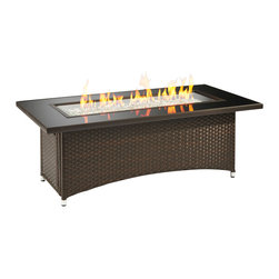 The Outdoor Greatroom - Montego Coffee Table With Balsam Brown Wicker Base - The Montego fire pit table is as beautiful as it is durable. Made from some of the strongest materials, this fire pit table will last. Clean and simple lines put focus on the dazzling crystal fire. The black tempered glass top comes with a cover for the burner when it is not in use, to make a beautiful and functional glass table top. The Montego fire pit is available in black wicker or balsam brown wicker. With just a push of a button you will enjoy a beautiful clean-burning fire appears atop a bed of highly reflective Diamond glass fire gems. All burners are shipped with orifices for LP or NG fuels and are UL approved for safety and quality. Adjust the flame height to your desired setting and enjoy the magic and ambience of a warm glowing fire.