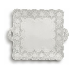 Arte Italica - Merletto Antique Square Platter with Handles - Get your appetizers squared aware with this platter. It borrows its gorgeous lacy pattern from a vintage design to provide a beautiful backdrop for the food it holds. Each is handmade in Italy for unique character, so you'll notice some slight variations in color and size.