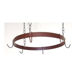 Grace Collection - Round Pot Rack (Burnished Copper) - Finish: Burnished CopperHanging pot rack. Made from wrought iron. Antique bronze color. 20 in. Dia. x 1.5 in. H (10 lbs.). Includes three hanging chains, ceiling mounting hardware and matching pot hooks. Made in USA. 1.5 in. flat stock rim. 0.19 in. cold rolled steel hanging hooks. Heavy ten gauge hanging chains. Has heavy weight support straps and uses high grade steelDesign affords easy access over any kitchen island.